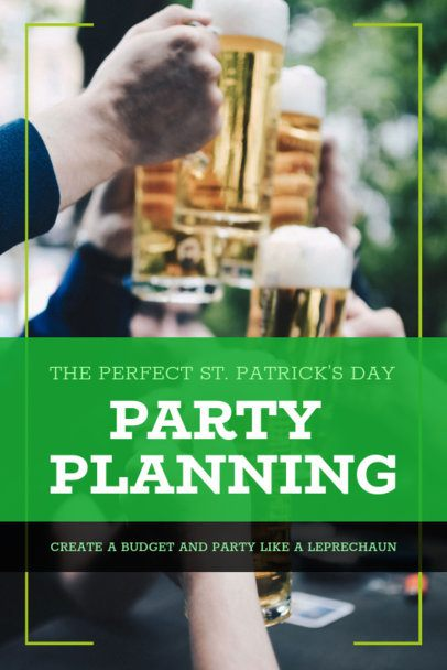 St. Patrick's Day Pinterest Pin Template for a Party Planning 1885m-2182