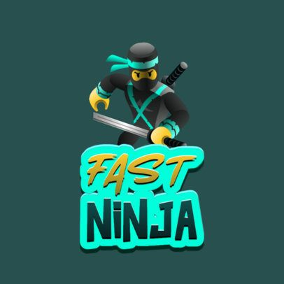 Roblox-Inspired Gaming Logo Template Featuring a 3D Ninja 2878g
