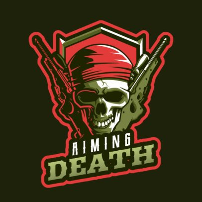 Gaming Logo Template Featuring Character with Guns 2898