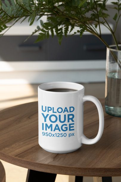 Mockup of a 15 oz Coffee Mug Placed on a Wooden Table 31308