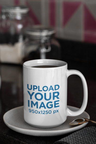 15 oz Coffee Mug Mockup Placed over a Plate 31307