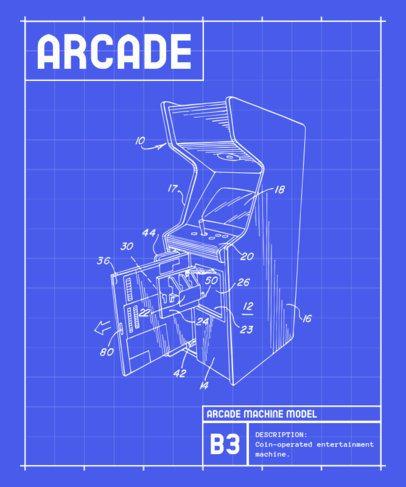 Retro T-Shirt Design Template with Diagrams of Gaming Machines 244-el1