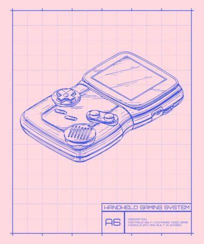T-Shirt Design Template with a Diagram of a Retro Portable Gaming Console 244c-el1