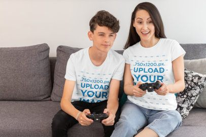 T-Shirt Mockup Featuring a Kid and His Mom Playing Video Games 31427