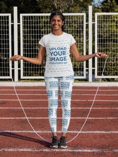 T-Shirt and Leggings Mockup Featuring a Woman Jumping Rope 31349