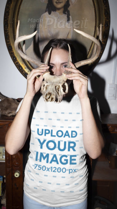 T-Shirt Video of a Woman Playing with an Animal Skull Replica 22421
