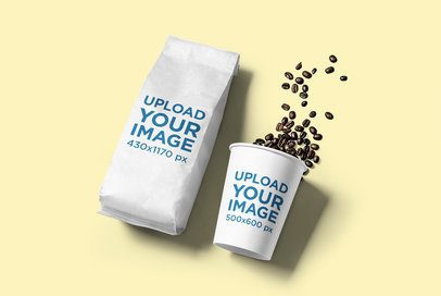 Mockup of a Coffee Cup Next to a Coffee Bag Packaging  2630-el1