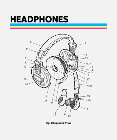 T-Shirt Design Template Featuring a Headset Graphic 245b-el1