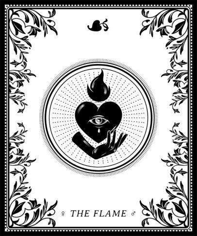 T-Shirt Design Template Featuring Tarot Symbol Illustrations 2196f