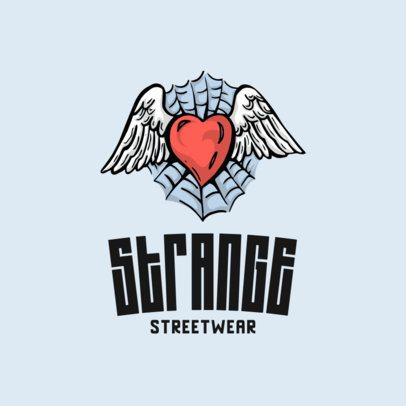 Streetwear Logo Maker with a Winged Heart Icon 701c-el1
