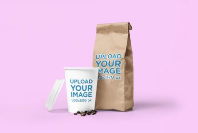 Coffee Cup Mockup Featuring a Coffee Bag and a Customizable Background 2631-el1