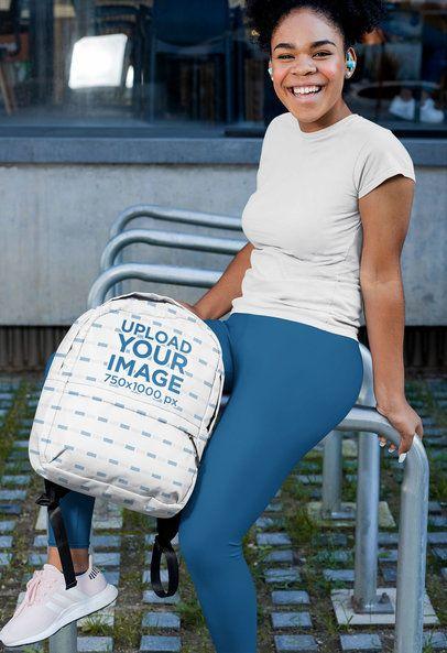 Backpack Mockup Featuring a Woman in Sportswear 31341