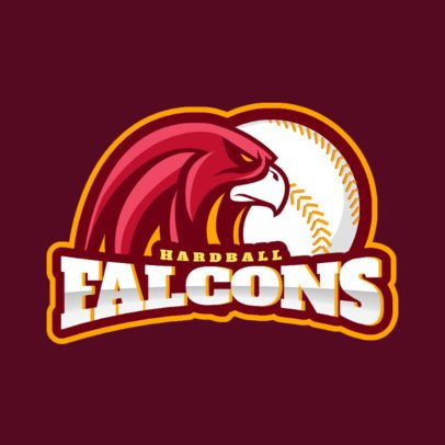 Sports Logo Maker Featuring a Falcon and a Baseball Ball 172vv-2936