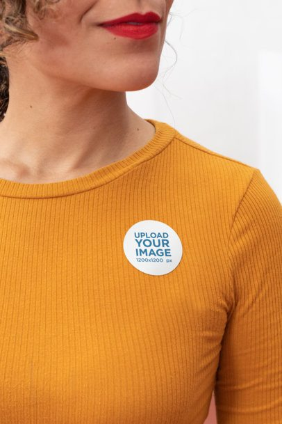 Mockup of a Woman Wearing a Sticker on Her Clothes 31892
