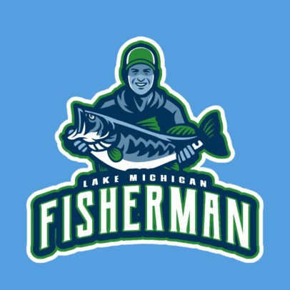 Logo Maker for a Fishing Team Featuring a Happy Fisherman 29aa-2932
