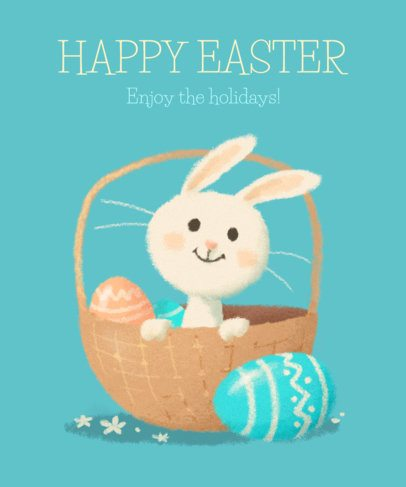 Easter T-Shirt Design Template with Funny Bunny Illustrations 2222