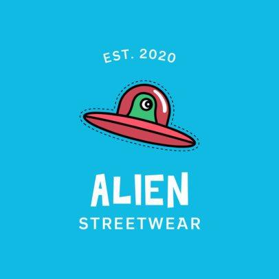Streetwear Clothing Logo Generator Featuring a UFO Graphic 753b-el1