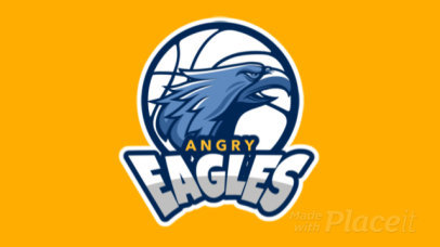 Animated Logo Template with an Eagle Graphic for a Basketball Team 336r-2935