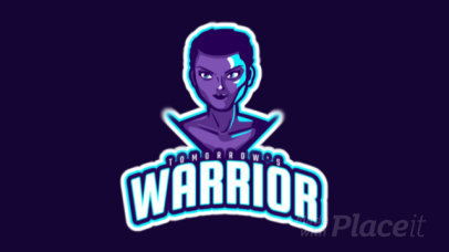 Animated Gaming Logo Creator with a Female Warrior Character 1746m-2929