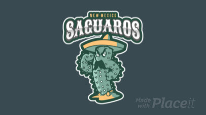Animated Sports Logo Maker Featuring a Cactus With a Mustache Clipart 484r-2934