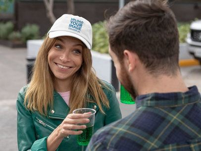 Mockup of a Woman with a Dad Hat Celebrating St Patrick's Day 32125