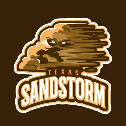 Logo Maker for a Cricket Team Featuring a Sandstorm Cloud Character 1651q-2936