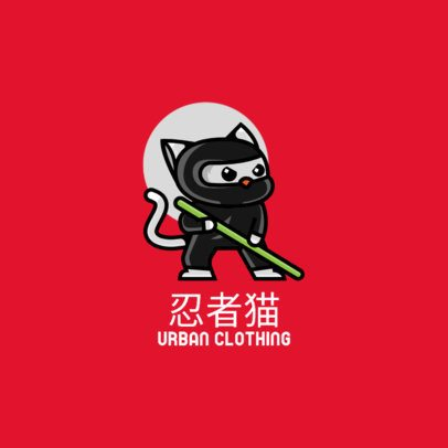 Streetwear Logo Maker with the Illustration of a Feline Ninja 264h-el1