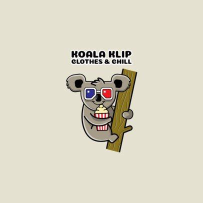 Clothing Brand Logo Maker with a Cinema-Fan Koala Illustration 264i-el1