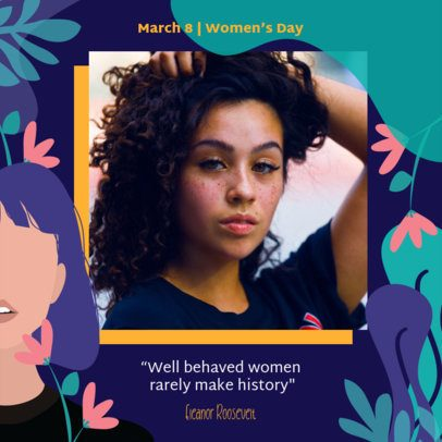 Women's Day Instagram Post Template with a Colorful Plants and Flowers Design 2262i