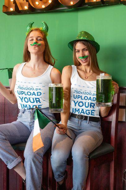 Tank Top Mockup of Two Women Celebrating St. Patrick's Day 32147