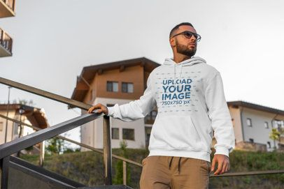 Pullover Hoodie Mockup Featuring a Man with Sunglasses 2773-el1