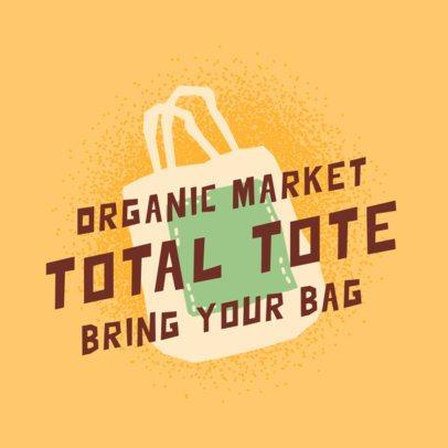 Logo Maker for an Organic Market with a Reusable Bag Illustration 2924f