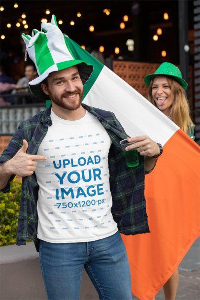 T-Shirt Mockup Featuring a Joyful Man Celebrating St Patricks Day Festivity 32119