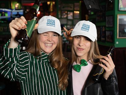 Saint Patrick's Day Mockup of Two Friends Wearing Dad Hats 32151