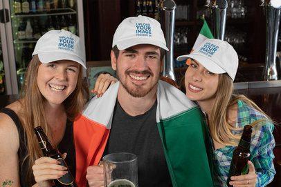 Dad Hat Mockup Featuring Three Friends Celebrating Saint Patrick's Day 32145
