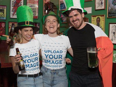 Mockup of Three Friends with T-Shirts Celebrating St Patricks Day 32138
