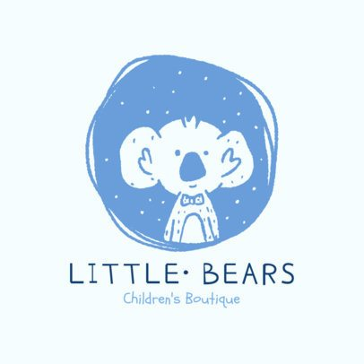 Illustrated Logo Template for a Kid's Clothing Brand Featuring a Cute Koala 2950e