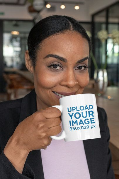 11 oz Coffee Mug Mockup Featuring a Smiling Middle-Aged Woman 31711