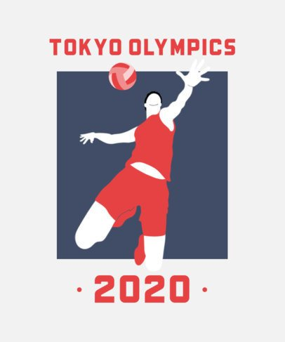 Tokyo Olympics T-Shirt Design Template Featuring a Volleyball Player 2280e