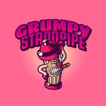 Streetwear Logo Template Featuring a Grumpy Standpipe Illustration 2956f
