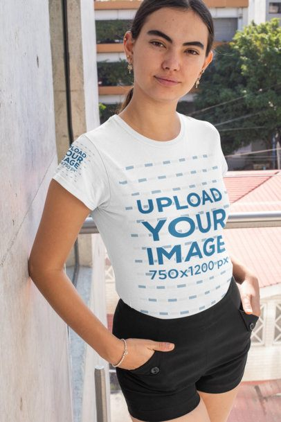 Mockup of a Young Woman Wearing a Tee with a Customizable Sleeve at an Urban Scenario 31463