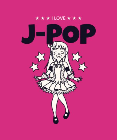T-Shirt Design Maker with a J-Pop Female Singer 2283e
