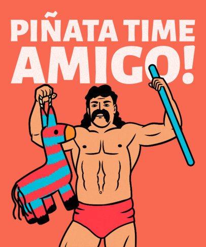 Funny T-Shirt Design Maker Featuring a Wrestler Holding a Piñata 2279i