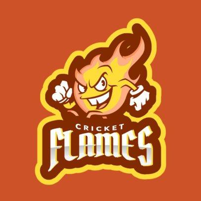 Cricket Logo Maker Featuring a Cartoonish Flame 1649o-2964
