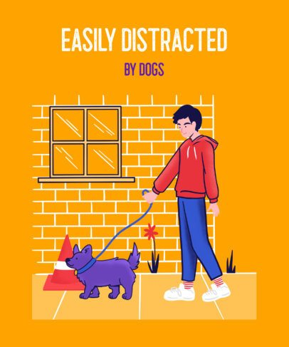 Pet T-Shirt Design Template  Featuring an Illustration of a Man Walking His Dog 2275e