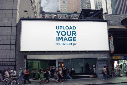 Horizontal Billboard Mockup Featuring People Passing By 2864-el1