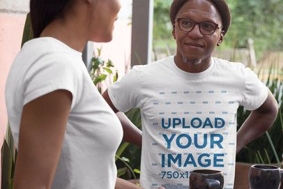 T-Shirt Mockup of Two Middle-Aged People Talking 31629