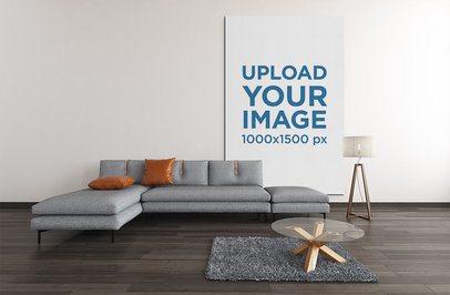 Mockup of a Big Art Print Decorating a Slick Living Room 2534-el1