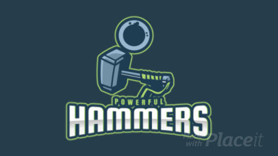 Animated Logo Template for a Gaming Squad with a Hammer Graphic 2499pp 2964
