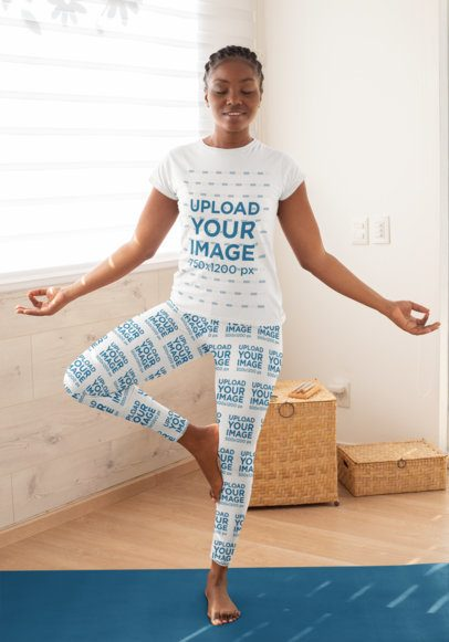 T-Shirt Mockup of a Woman Wearing Leggings and Doing a Tree Pose 31089